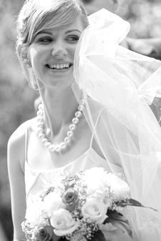 Free Young Beautiful Bride With Flowers Outdoor Stock Photo - 6259650
