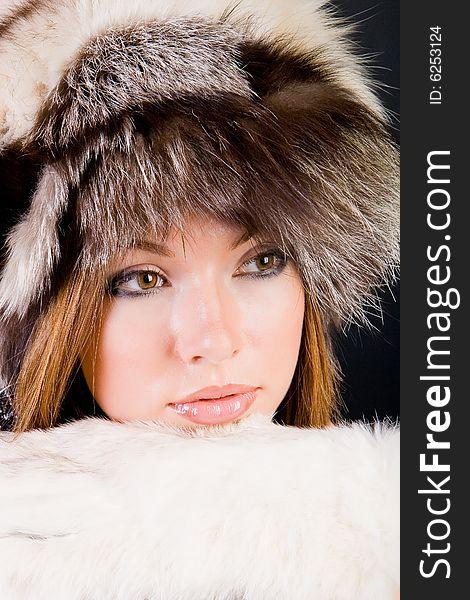 Girl in fur-cap