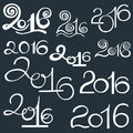 Free Happy New 2016 Year And Merry Christmas. Calligraphic Hand Drawn Royalty Free Stock Photos - 62538588