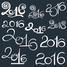Happy New 2016 Year And Merry Christmas. Calligraphic Hand Drawn Royalty Free Stock Photos
