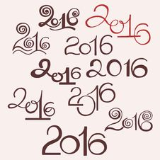 Happy New 2016 Year And Merry Christmas. Calligraphic Hand Drawn Stock Photos