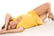 Free Pretty Girl Lying On White Background Stock Photo - 6260180