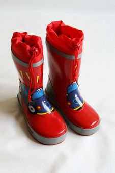 Red Wellington Boots Stock Images