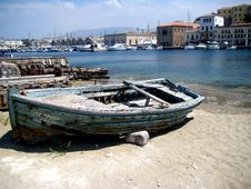Old Wooden Boat At Harbor Royalty Free Stock Photography