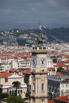 Cityscape Of Nice With Flag On Tower Stock Image