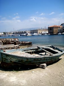 Old Wooden Boat At Harbor Stock Images