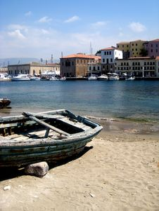 Old Wooden Boat At Harbor Royalty Free Stock Photo
