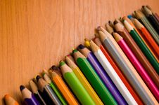 Free Color Pencils On A Table Royalty Free Stock Photo - 6265155