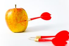 Free Red-yellow Apple With Darts Stock Photos - 6265253