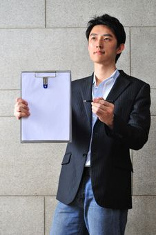 Free Asian Man With Clipboard 4 Stock Photography - 6265432