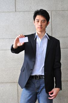 Free Asian Man With Blank Namecard 8 Stock Images - 6265614