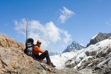 Free Tourist Sitting On Cliff Stock Image - 6265631