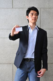 Free Asian Man With Blank Namecard 11 Royalty Free Stock Photo - 6265655