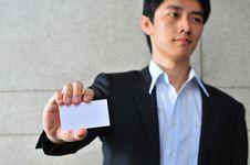 Free Asian Man With Blank Namecard 12 Stock Photos - 6265663