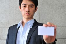 Free Asian Man With Blank Namecard 17 Stock Image - 6265771
