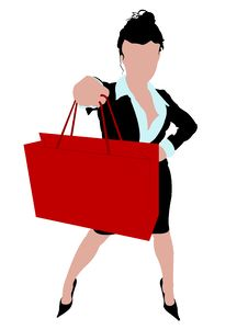 Free Sexy Business Woman Standing With A Shopping Bag Royalty Free Stock Images - 6265989
