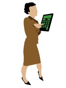 Free Sexy Business Woman Standing With A Calculator Stock Photography - 6265992