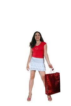Free Pretty Girl With Red Shopping Bag Stock Photo - 6266220