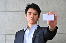 Free Asian Man With Blank Namecard 29 Royalty Free Stock Image - 6266296