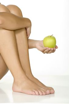 Free Apple On The Belly Of Beautiful Woman Stock Photo - 6266620