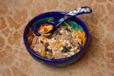 Free Colored Bowl And Spoon With Cereal Royalty Free Stock Photography - 6267267