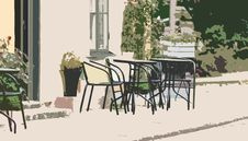 Street Cafe Illustration Royalty Free Stock Photos