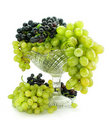 Free Cluster Of Green And Blue Grape Isolated On White Royalty Free Stock Photos - 6272538