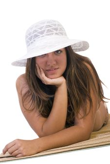Free Girl With White Hat Posing On The Floor Royalty Free Stock Photo - 6270395