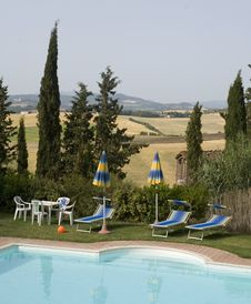 Free TUSCANY Countryside With Cypress And Pool Stock Photography - 6272602