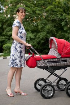 Free Woman With Baby Carriage Stock Images - 6273344