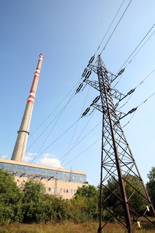 Free Transmission Tower Before Heating Plant Stock Photos - 6273963