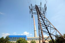 Free Transmission Tower Before Heating Plant Stock Images - 6273974