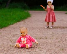 Free Doll Left By A Small Girl Stock Photography - 6274312