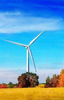 Wind Turbine In The Autumnal Nature Stock Images
