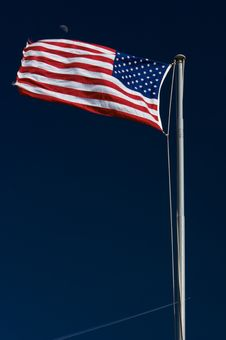 Free American Flag With Moon In The Background Royalty Free Stock Photography - 6274397