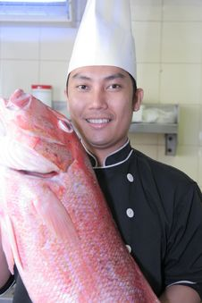 Free Chef And Red Snapper Fish Stock Image - 6274821