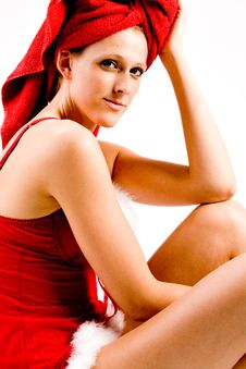 Free Relaxed Wellness Girl With  Red Towel On Her Head Stock Photo - 6274880