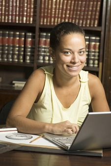 Woman At Laptop Stock Image