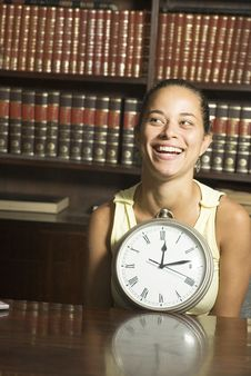 Free Smiling Woman With Clock Stock Images - 6275544