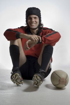 Rugby Player WIth Ball Royalty Free Stock Photography