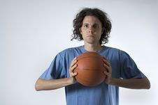 Man With Basketball Stock Image