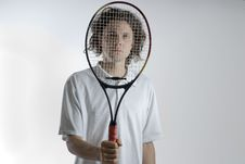 Free Tennis Player With Racket Royalty Free Stock Image - 6275896