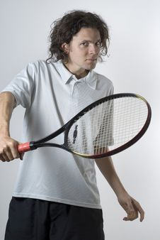 Free Tennis Player With Racket Royalty Free Stock Photos - 6275918