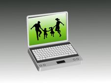 Free Family In The Computer Stock Photos - 6276423