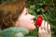 Free The Girl Smells A Rose Bud Stock Images - 6276464