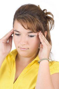 Girl With A Headache Stock Photos