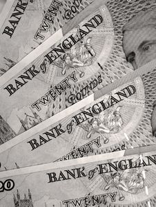 Twenty Pound Notes Royalty Free Stock Photography