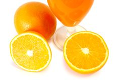 Orange Juice In Glass And Oranges. Royalty Free Stock Photography