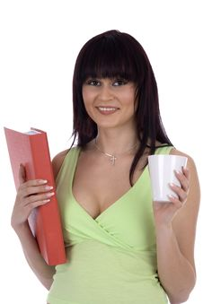 Free Woman With Document And Cup Royalty Free Stock Photo - 6278695