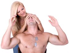 Free Woman Covers Man S Eyes With Hands Stock Image - 6279921
